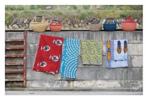 African basket & fabric